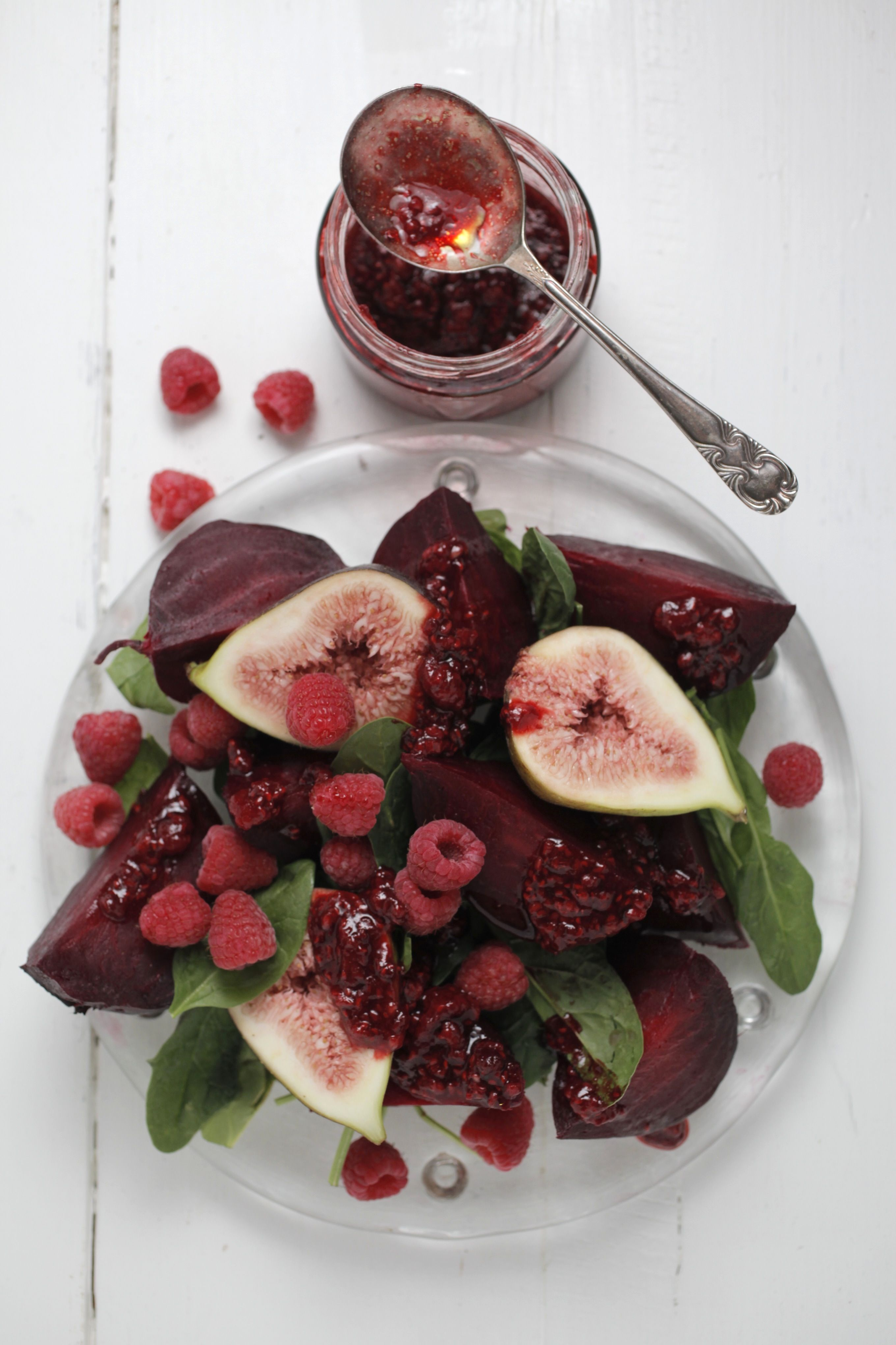 Roasted Beetroot Salad With Fig Smashed Raspberry Dressing
