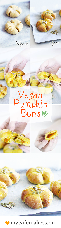 "Delicious, Simple 100% Vegan Pumpkin Buns filled with pumpkin ""custard"" and glazed with Vanilla Bean syrup. #Vegan #buns #pumpkin #healthy #delicious #bread #yeastbread #sweetrolls #baking"