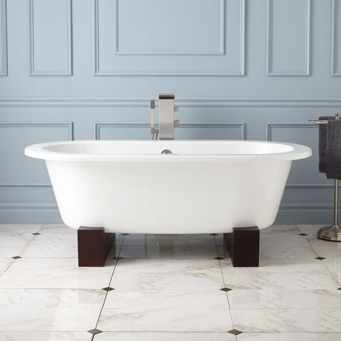 68 Erikson Cast Iron Double Ended Tub On Wood Cradles Cast Iron