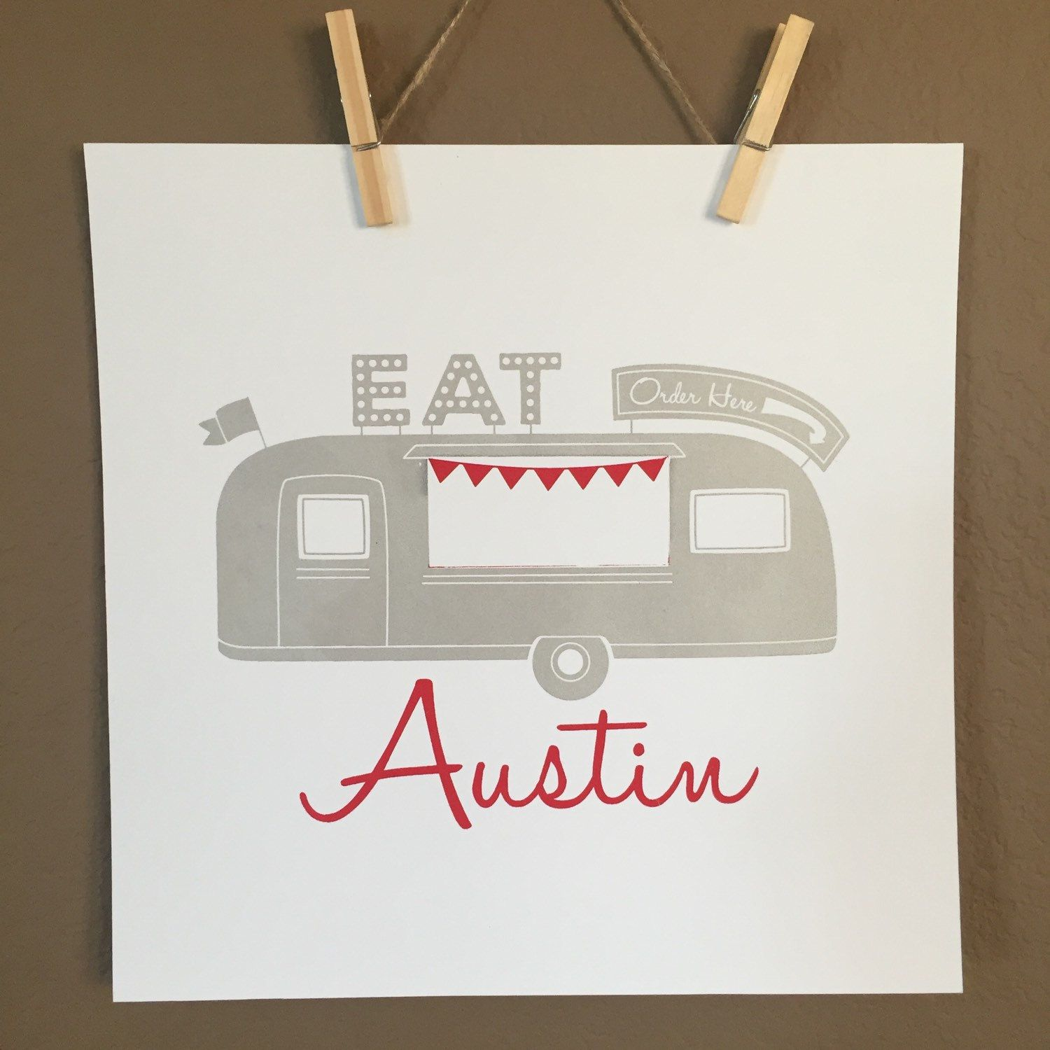 New in the shop... A fun two color Austin food truck screen print. This was not easy to do on my little home screen printing press but the result is gorgeous!