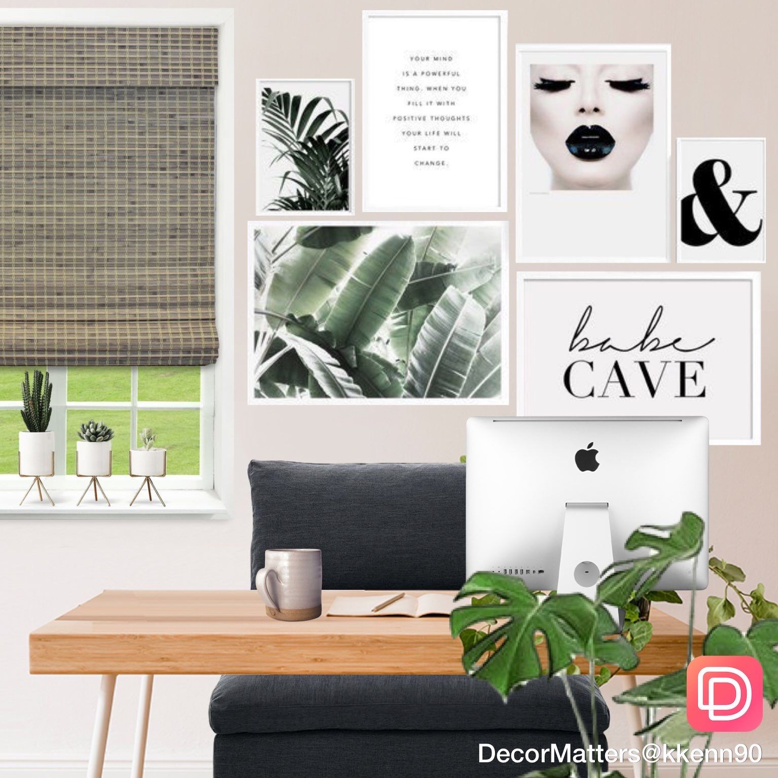 Love this wall gallery and stunning home office decor. Click the image to try our free home design app.  (Keywords: interior design apps, room design app, free home decor app, dream rooms, dream house, house design, room ideas, home decor, design home, decormatters, decormatters app, decor matters, home decor ideas, DIY home decor, positive vibes, positive thoughts)