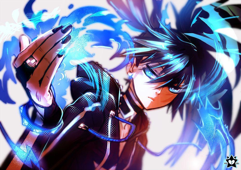 Blue Flame By E X P I E Deviantart Com On Deviantart Black Rock Shooter Black Rock Anime