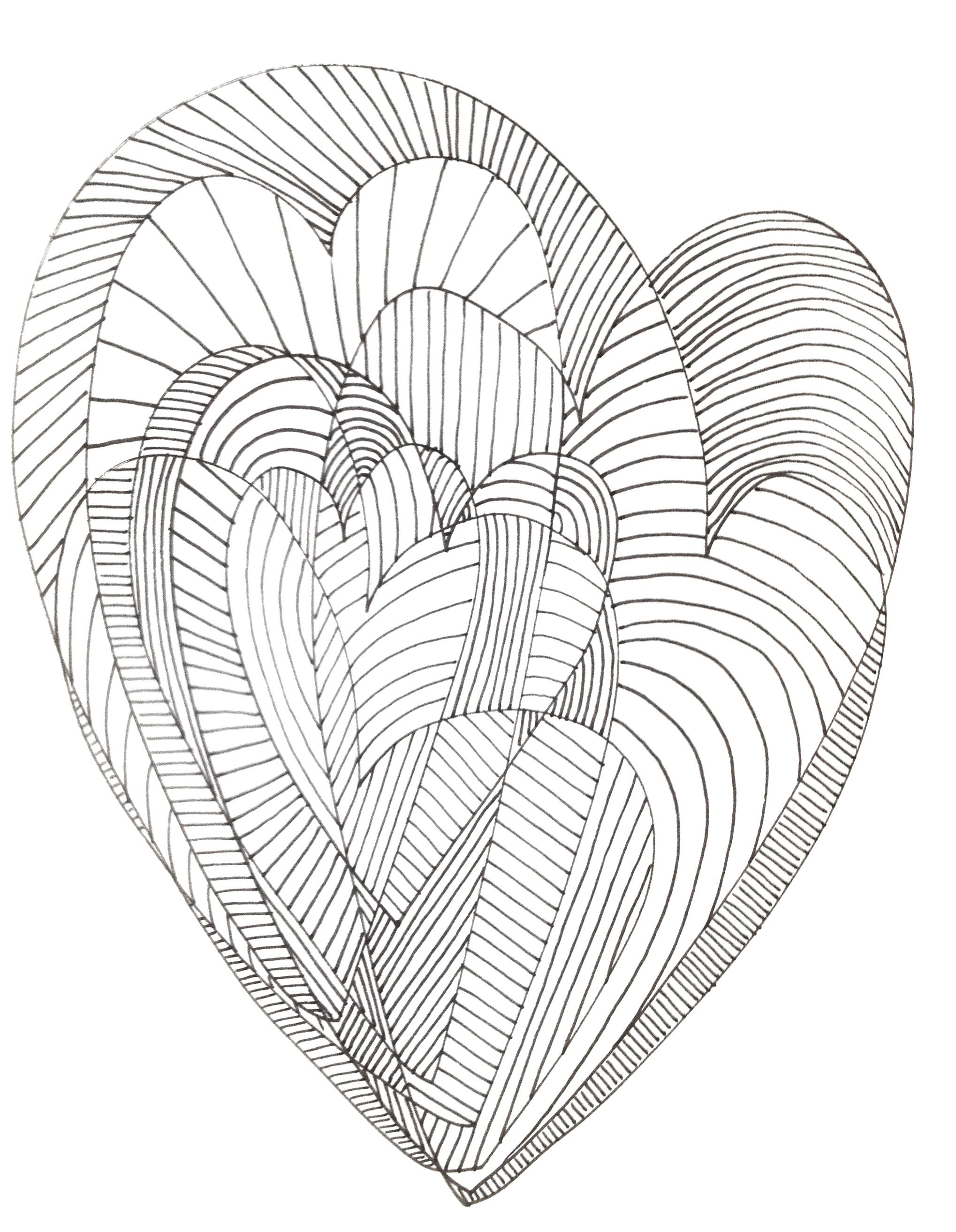 Hearts abstract doodle zentangle coloring pages colouring for Abstract heart coloring pages