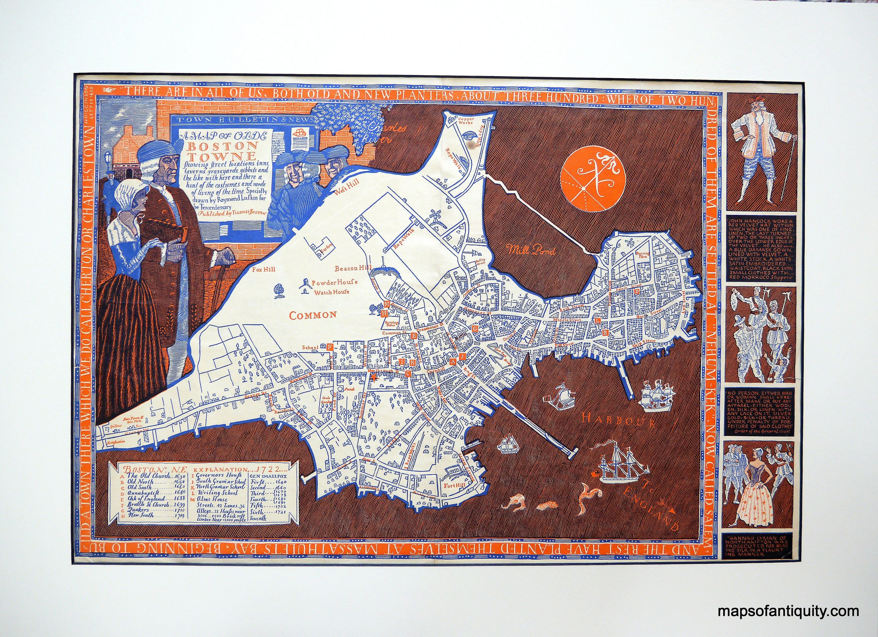 A Sea Serpent Has Been Spotted In Boston Harbor On This Antique - Antique boston map