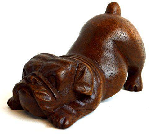 Meditating Yoga Puppy Bulldog Collectible Statue Hand Pai