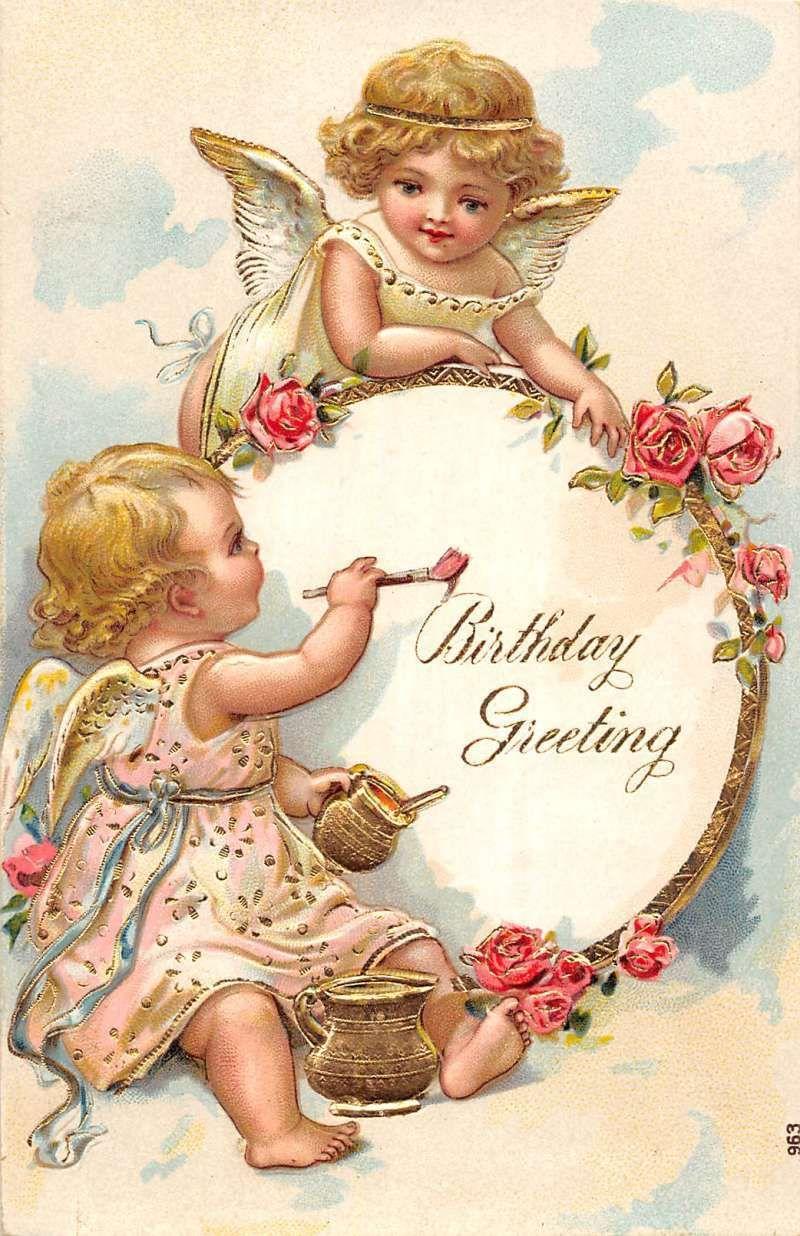 Birthday Greeting winged cherubs one painting embossed
