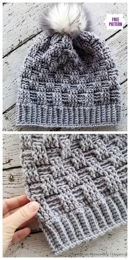Crochet Woven Beanie Hat Kostenlose Häkelanleitungen #crochetpatterns
