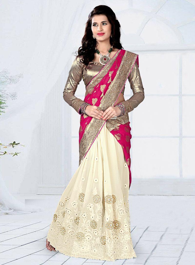 Magenta raw silk embroidery work half n half saree half