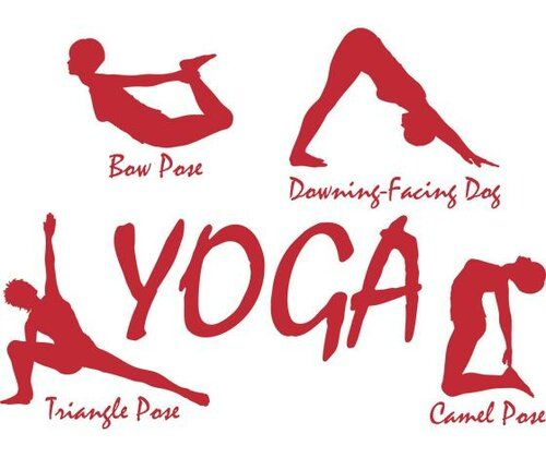 Yoga Pose Wall Sticker Happy Larry Size: 136 cm H x 100 cm W, Colour: Red