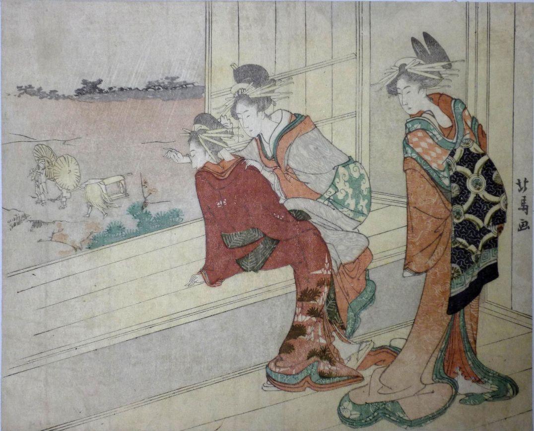 3 Courtesans by Hokuba. Three courtesans watching clients leaving in light rain.