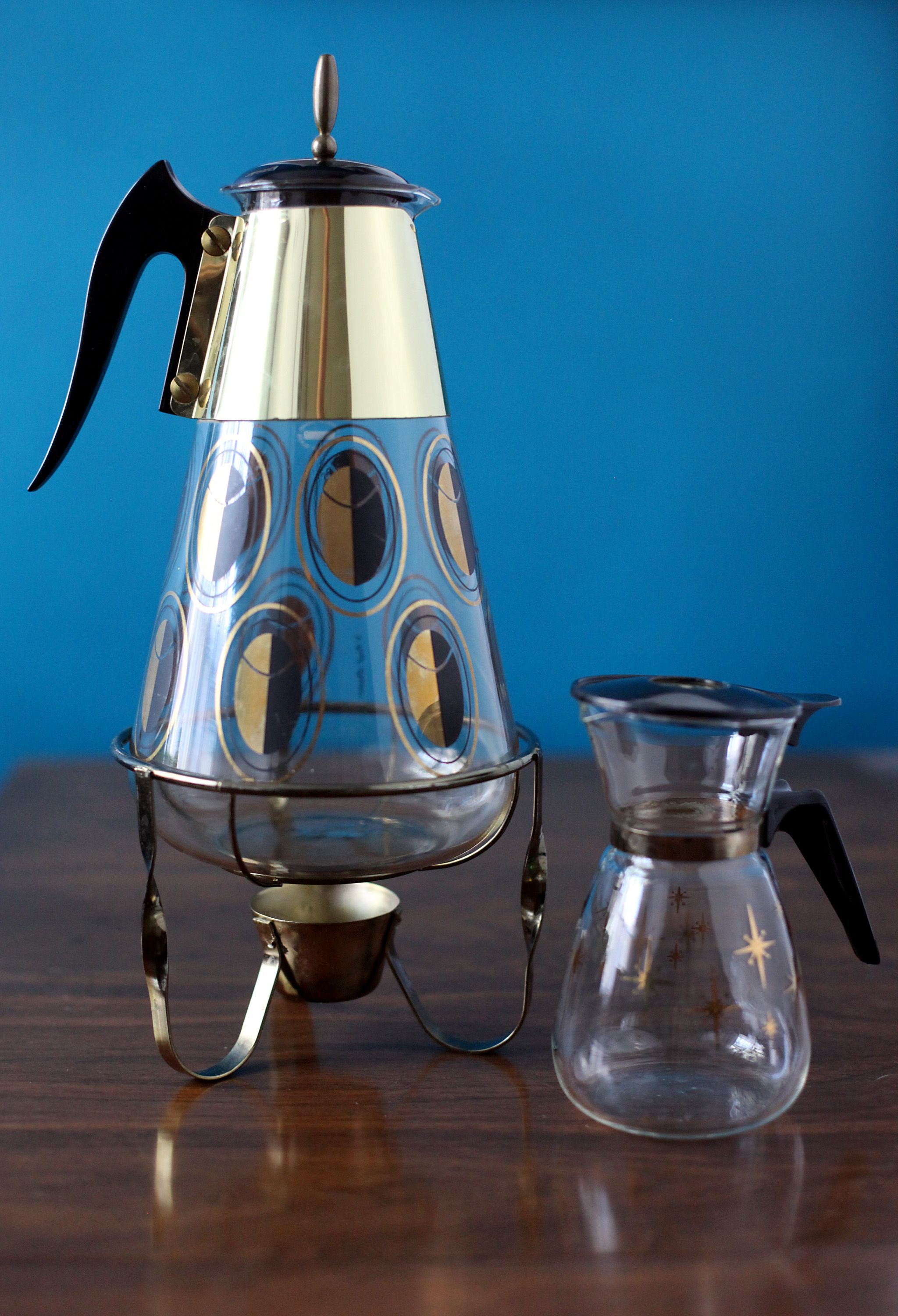 Midcentury Fred Press coffee carafe and warming stand