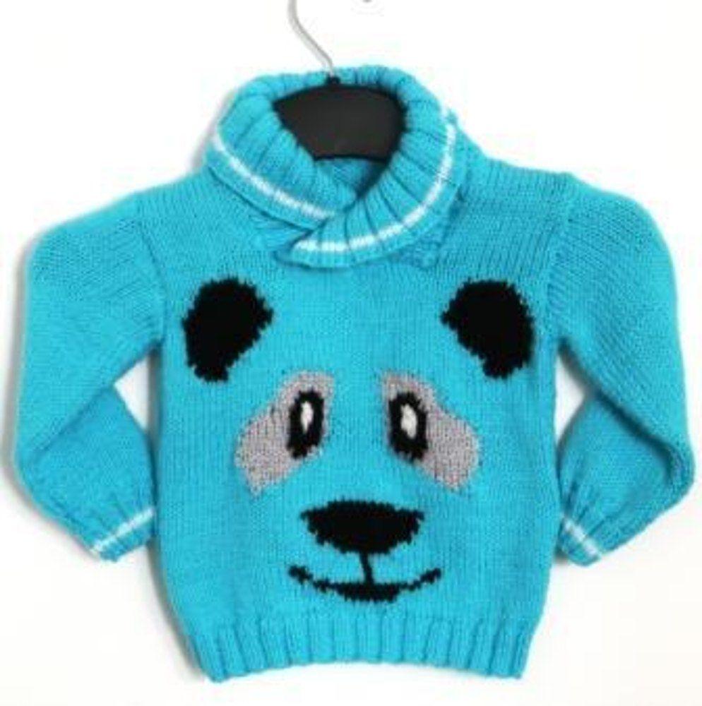 Panda Face Sweater   Sweater knitting patterns, Knitting patterns ...