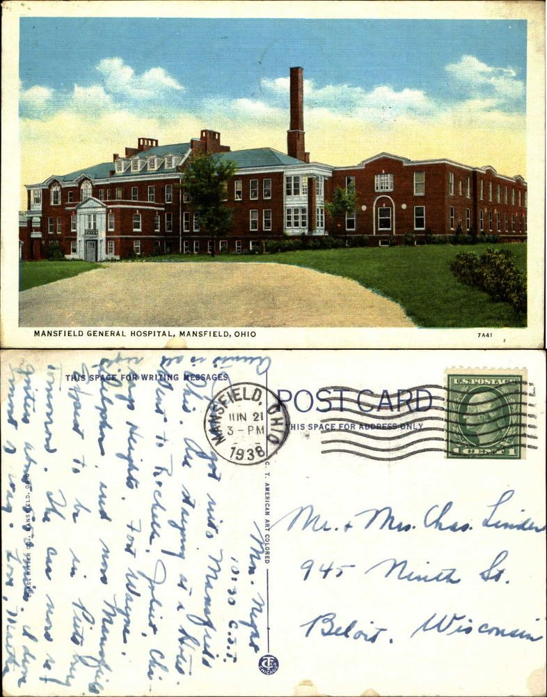 Mansfield general hospital oh ohio linen mailed 1938