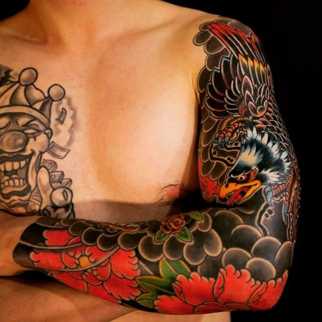 eagle sleeve tattoo by haewall oriental tattoo. Black Bedroom Furniture Sets. Home Design Ideas