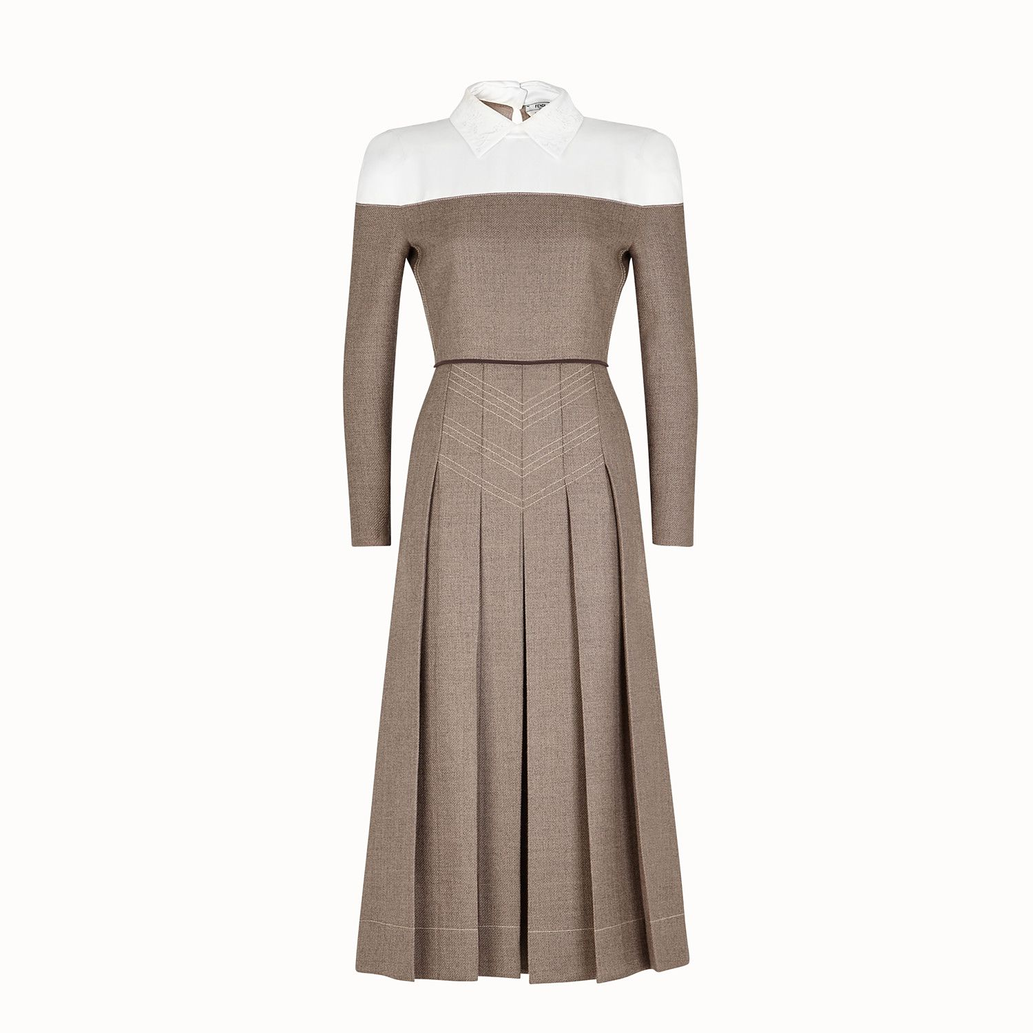 Fendi Robe Robe En Laine Grisaille View 1 Zoom Éレス ïンピース