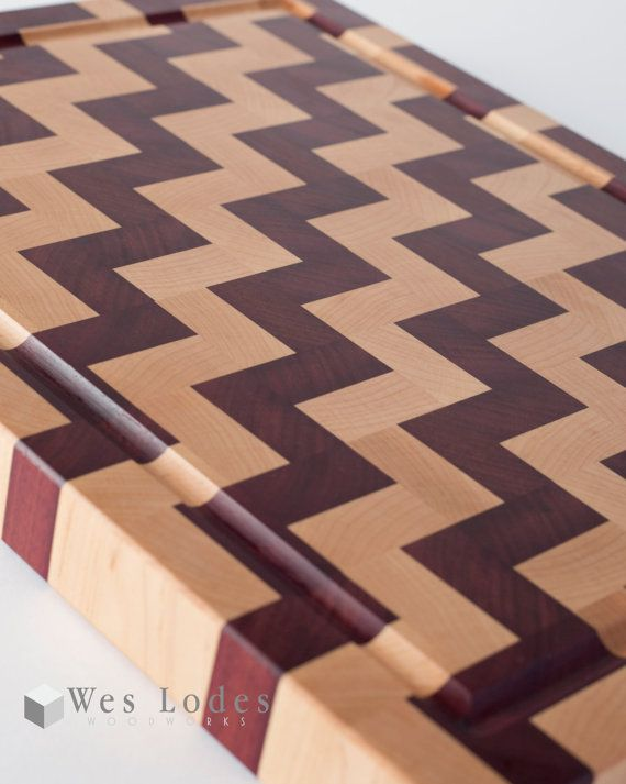 Chevron pattern cutting board with juice groove  11 75 x 15