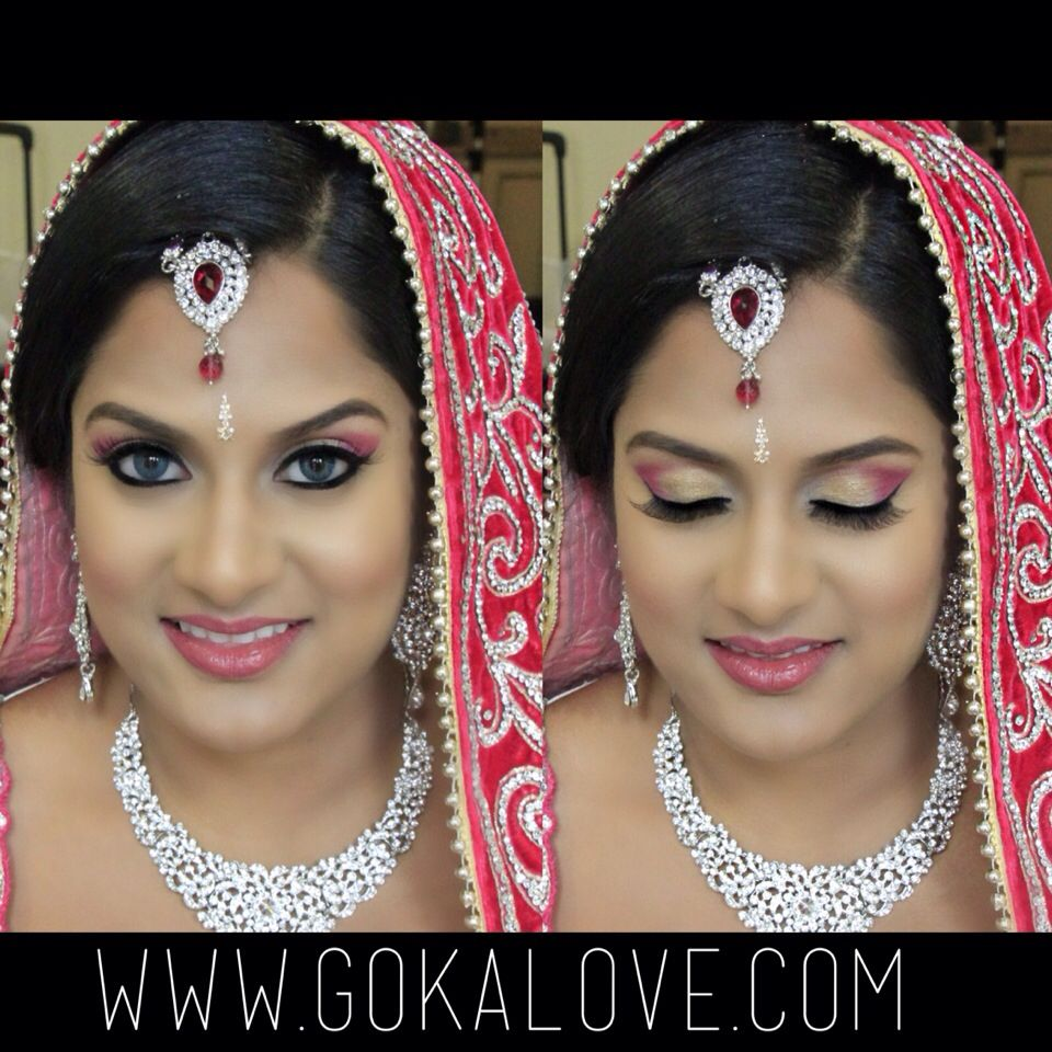 makeup, hair and dupatta setting for an indian bride in