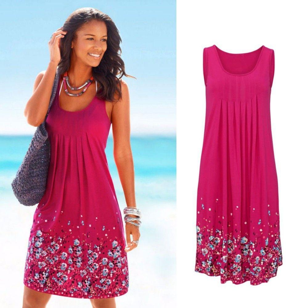 elegant women flowers print sleeveless dresses plus size floral