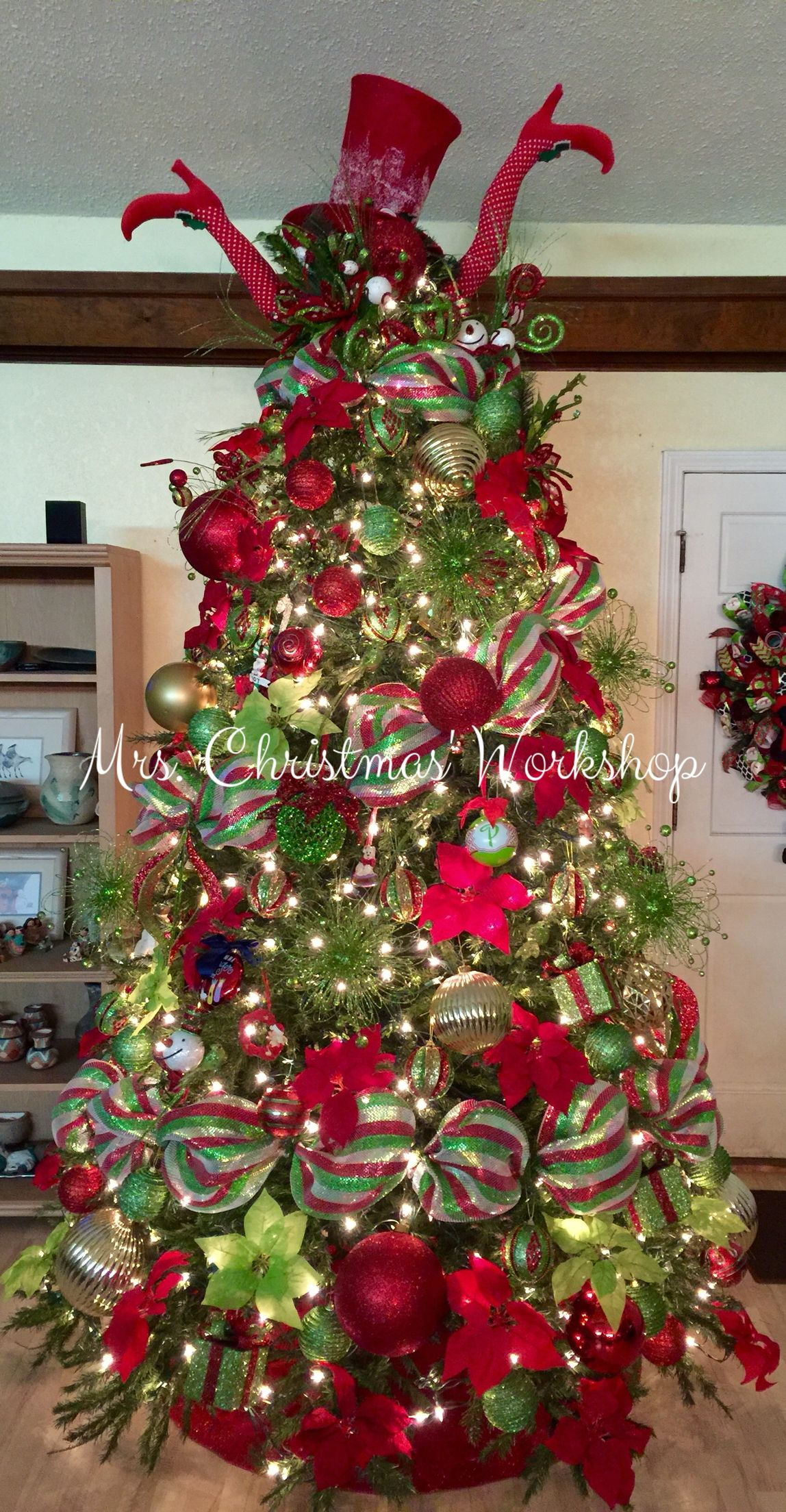 Christmas tree, red and lime, Christmas decorating, tree