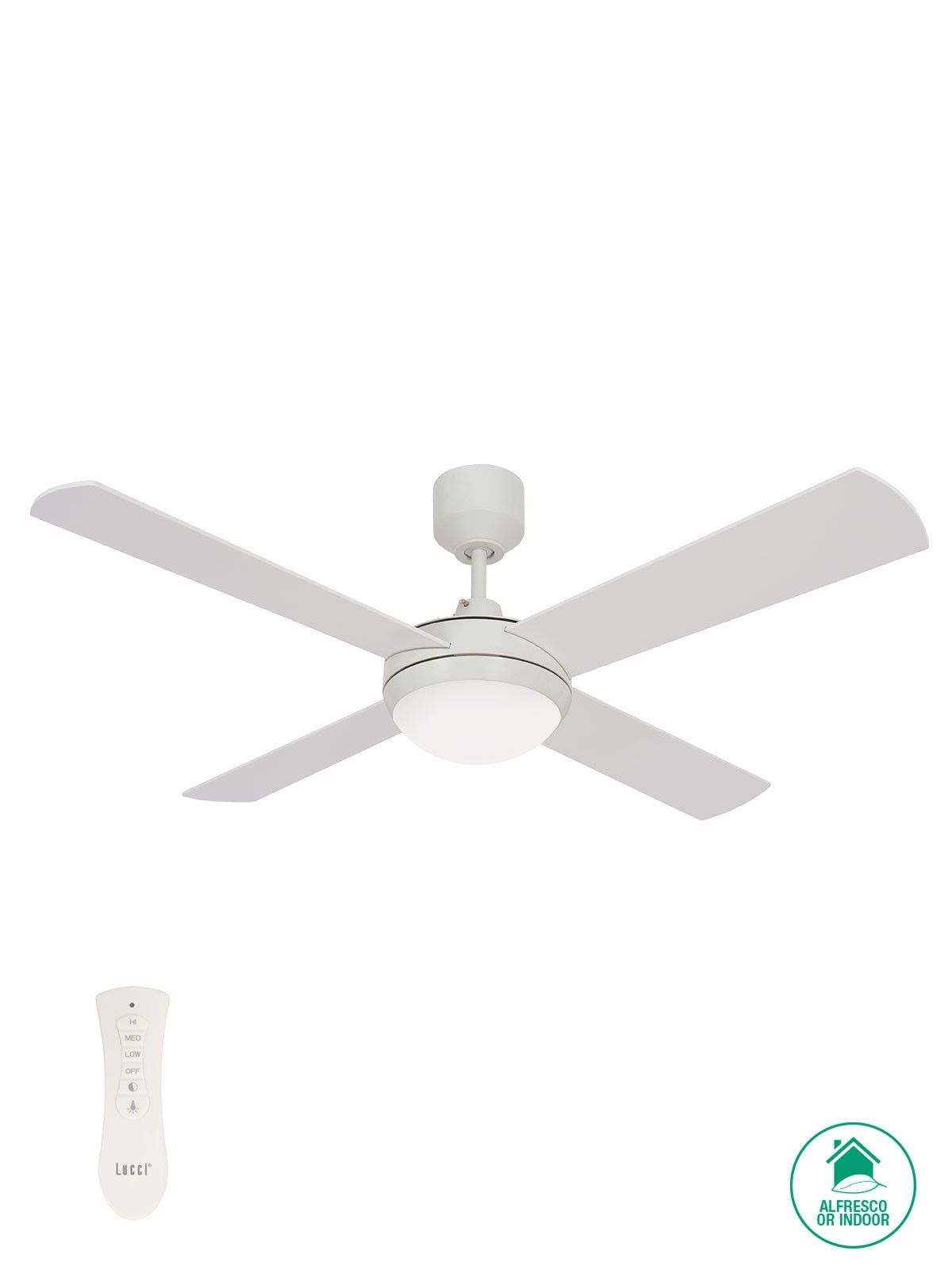 Futura Eco 132cm Fan And Colourshift Led Light In White Ceiling