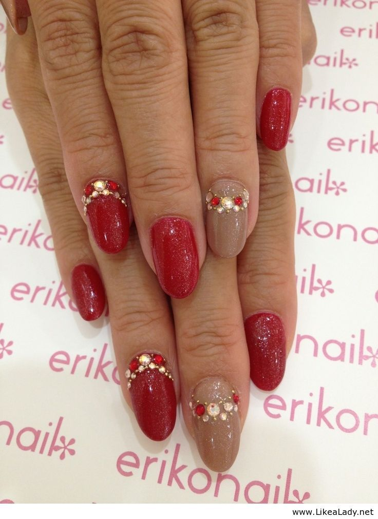 Red nails with diamonds   NAILS   Pinterest   Red nails, Makeup and ...