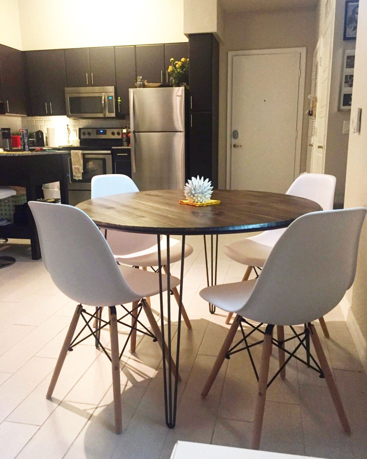 42 Round Industrial Chic Kitchen Table With Handcrafted Wood Top