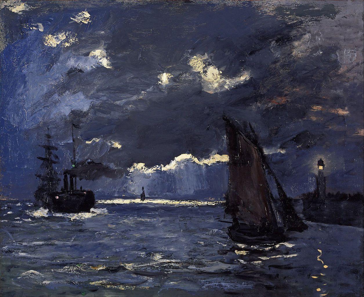 Un paesaggio marino con le barche al chiaro di luna di Claude Monet, 1864