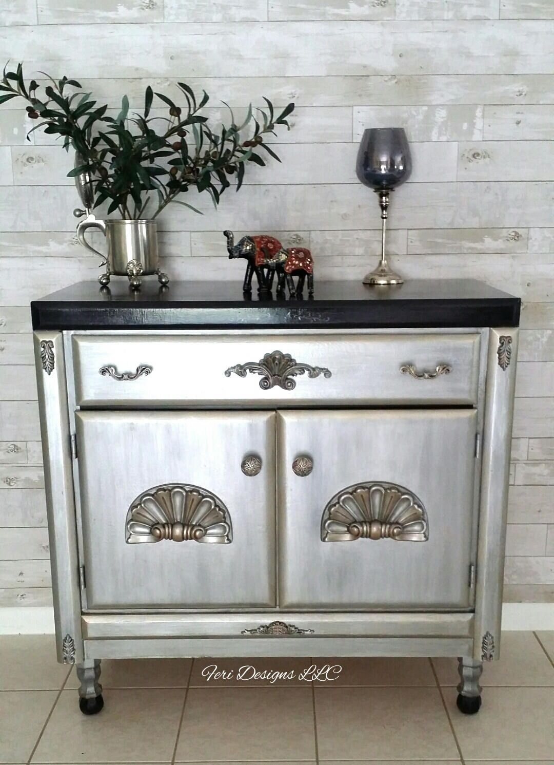 silver painted furniture. CUSTOM ORDER-Vintage Looks Metallic Silver Paint \u0026 Effects Small Buffet/Console By FERIDESIGNS Painted Furniture