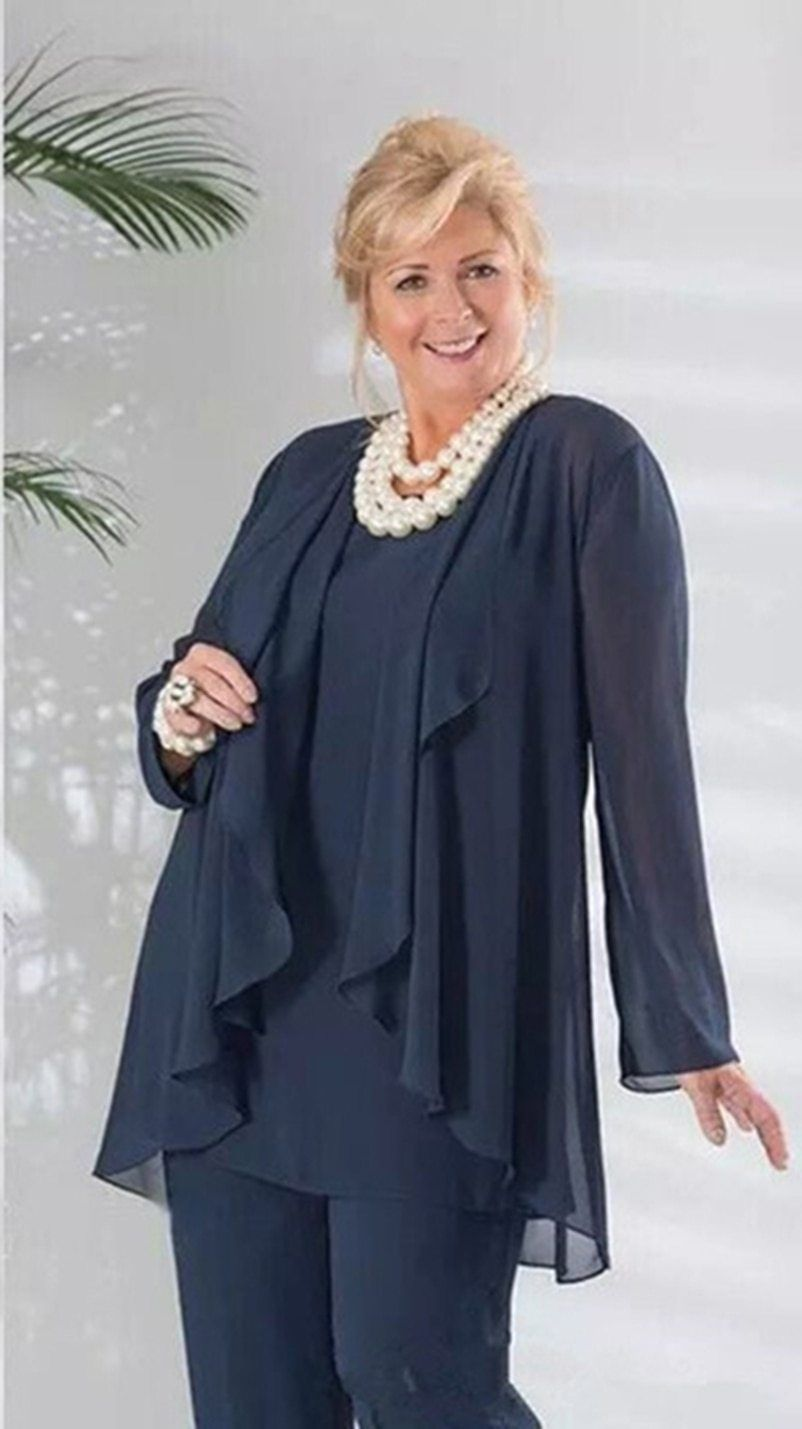 2019 mother of the bride pant suits dark navy three pieces