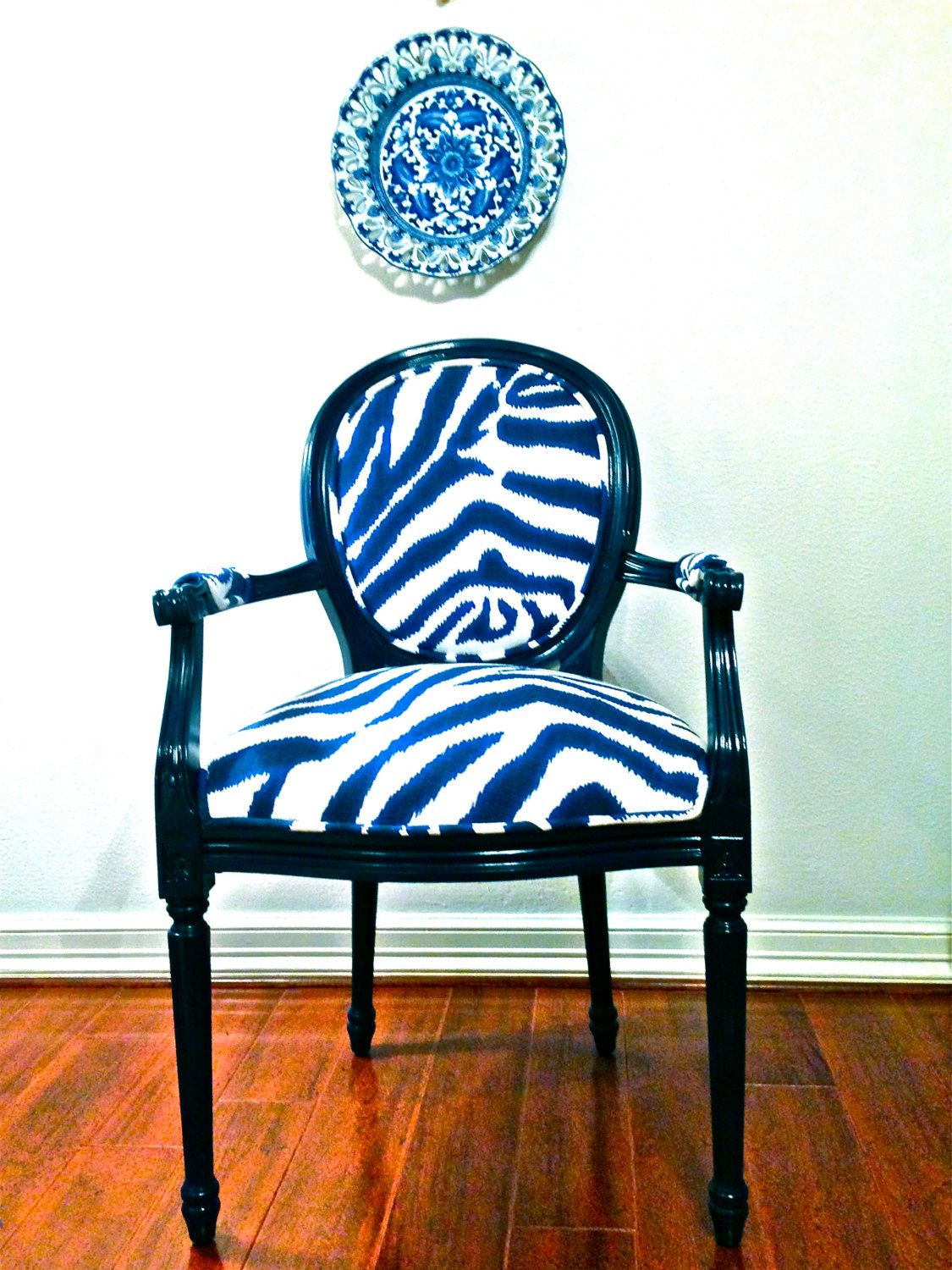 SOLD French Chair Blue Zebra Louis XVI French chairs