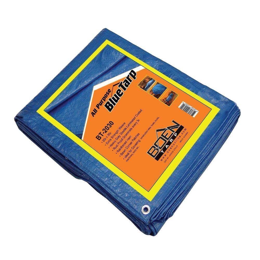 Boen 30 Ft X 20 Ft All Purpose Blue Tarp 4 Pack Bt 20304 Home Depot Tent Accessories Purpose