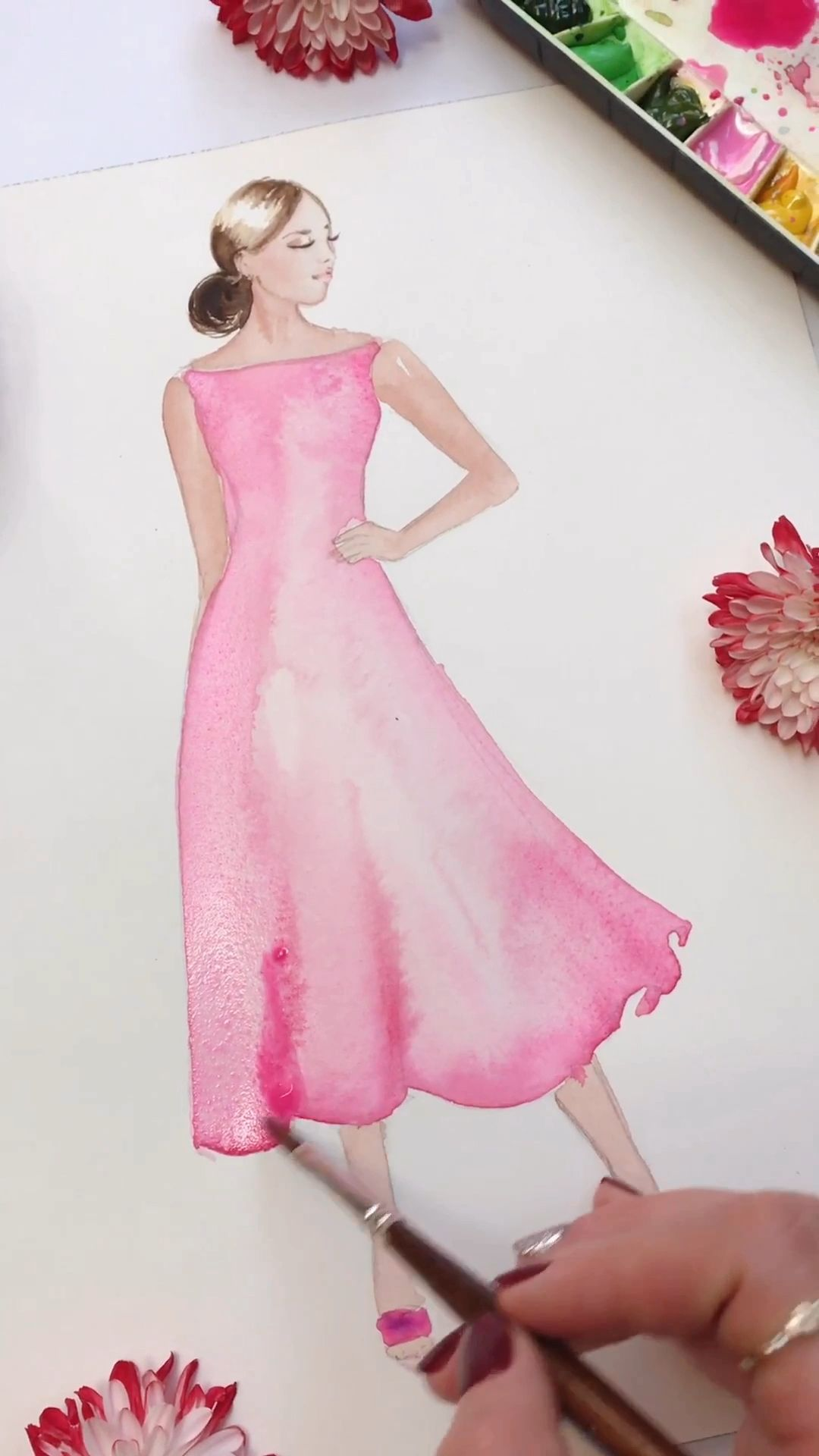 Photo of Fashion illustration, painting with watercolor