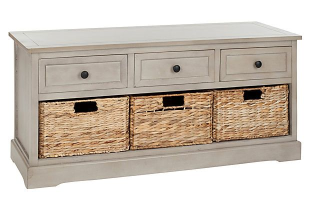 Arlington 3-Drawer Storage Bench Taupe - Benches - Living Room - Furniture  sc 1 st  Pinterest & One Kings Lane - Stylish Upgrades - Arlington 3-Drawer Storage Bench ...