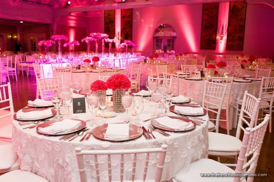 Hot Pink Carnation Centerpieces in Rhinestone Vases -