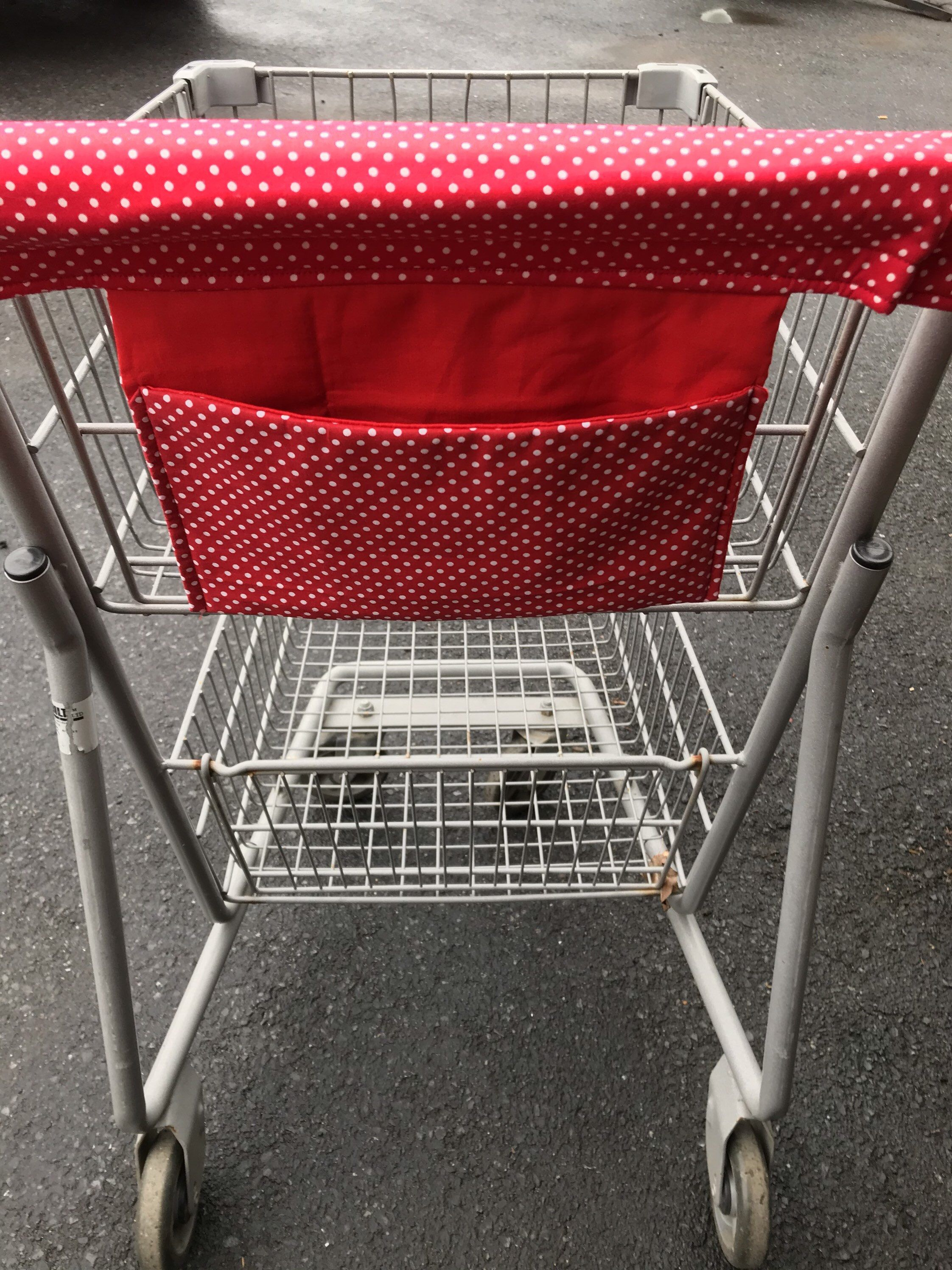Custom Order For Noel Shopping Cart Cover With Wallet Pocket Red Polka Dots Cotton Print Cart Cover Shopping Handy Cart Cover In 2020 Cart Cover Shopping Cart Cover Shopping Cart Cover Diy