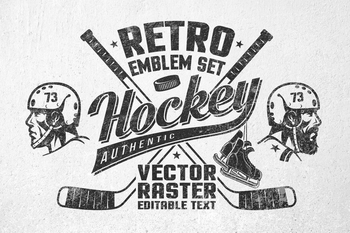 Amazing Retro Logos For Hockey Team Hockey Club Or Just Print On The T Shirt Old School Style Head Of Hockey Player Without Be Hockey Logos Retro Logos Retro