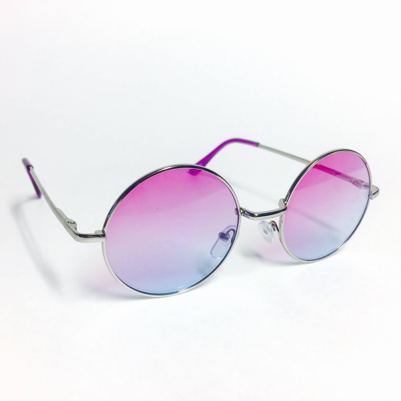 1ea8fe143f4b Psychedelic 80s John Lennon Circle Frame Multicolor Lens Round Sunglasses  Almost Famous Penny Lane