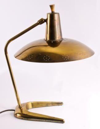 Gerald Thurston Attributed Perforated Brass Desk Lamp For Lightolier 1950s Modern Desk Lamp Mid Century Modern Desk Lamp Lamp