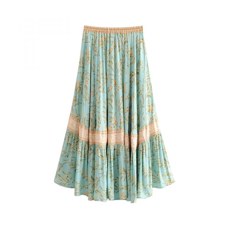 Boho Chic Vintage Floral Print Pleated Asymmetrical Skirt