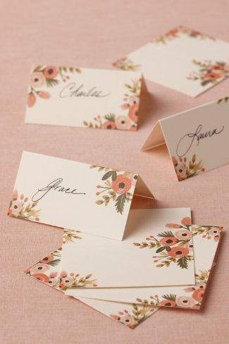 Pretty botanical place cards
