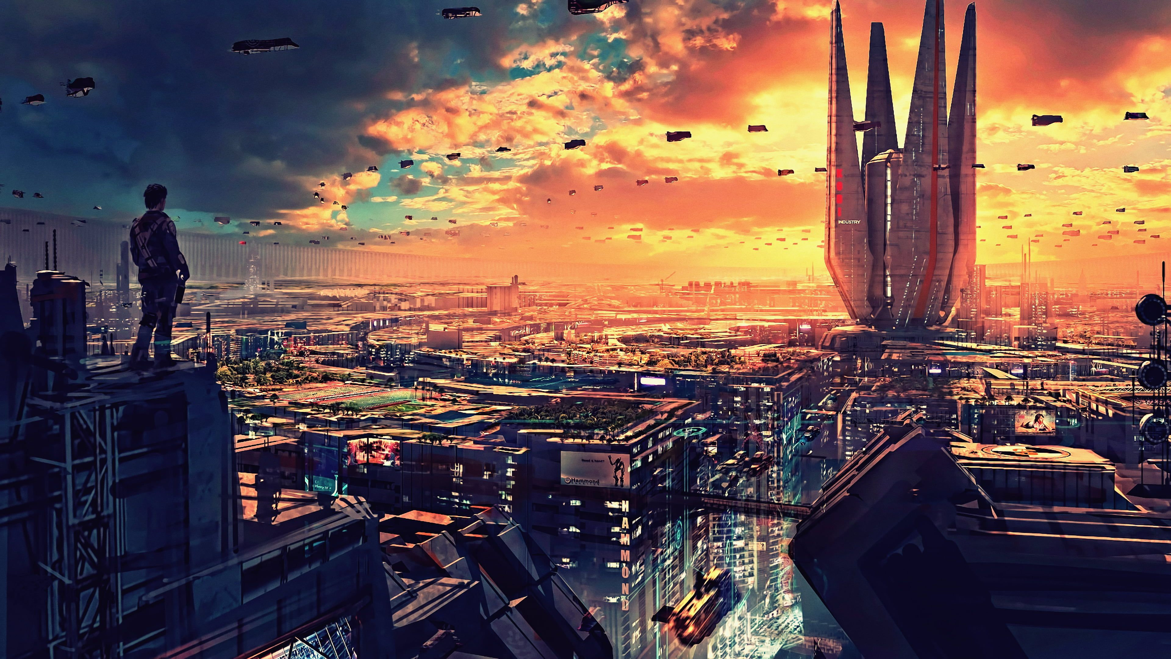 Person Standing On Top Of Building Wallpaper Artwork Futuristic City Science Fiction Digital Art Concept Art Futuristic City Cityscape Wallpaper Sci Fi City