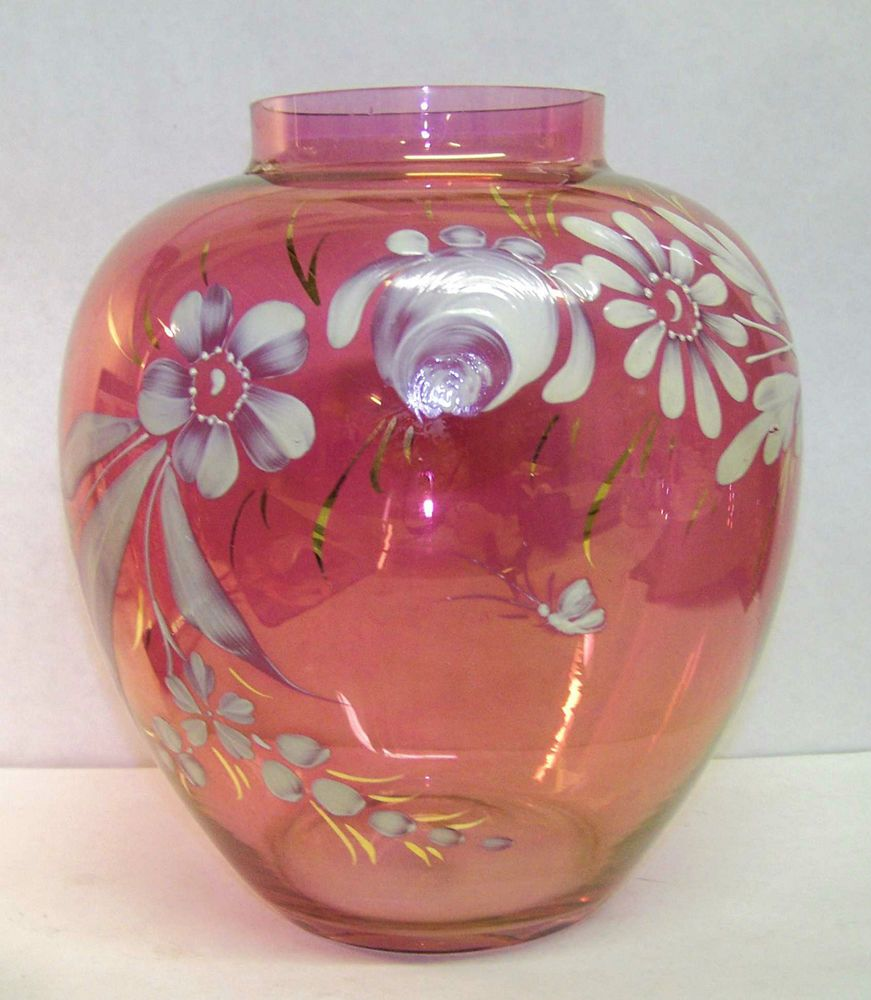 Rainbow art glass co cranberry hand decorated vase large 9 12 rainbow art glass co cranberry hand decorated vase large 9 12 tall reviewsmspy