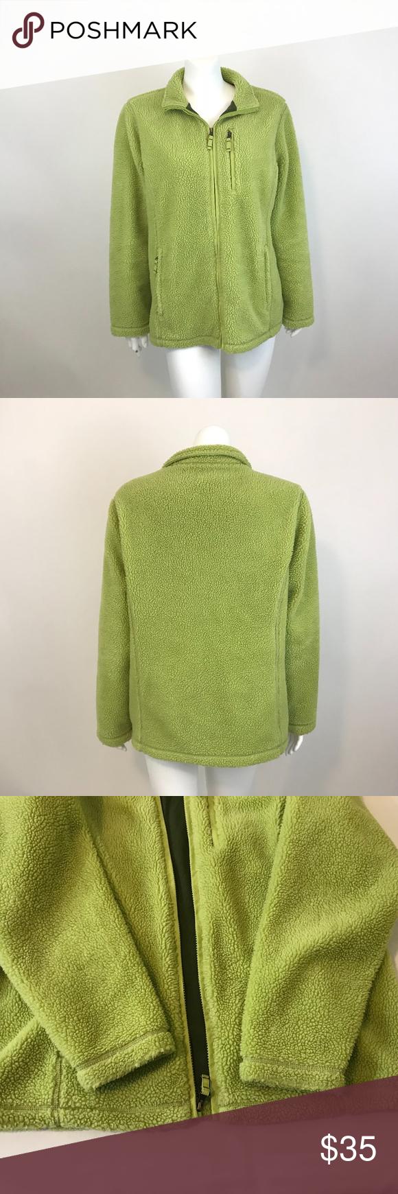 ba0988fee80 Lands  End Green Nubby Zip Up Fleece Jacket L Lands  End nubby fleece jacket