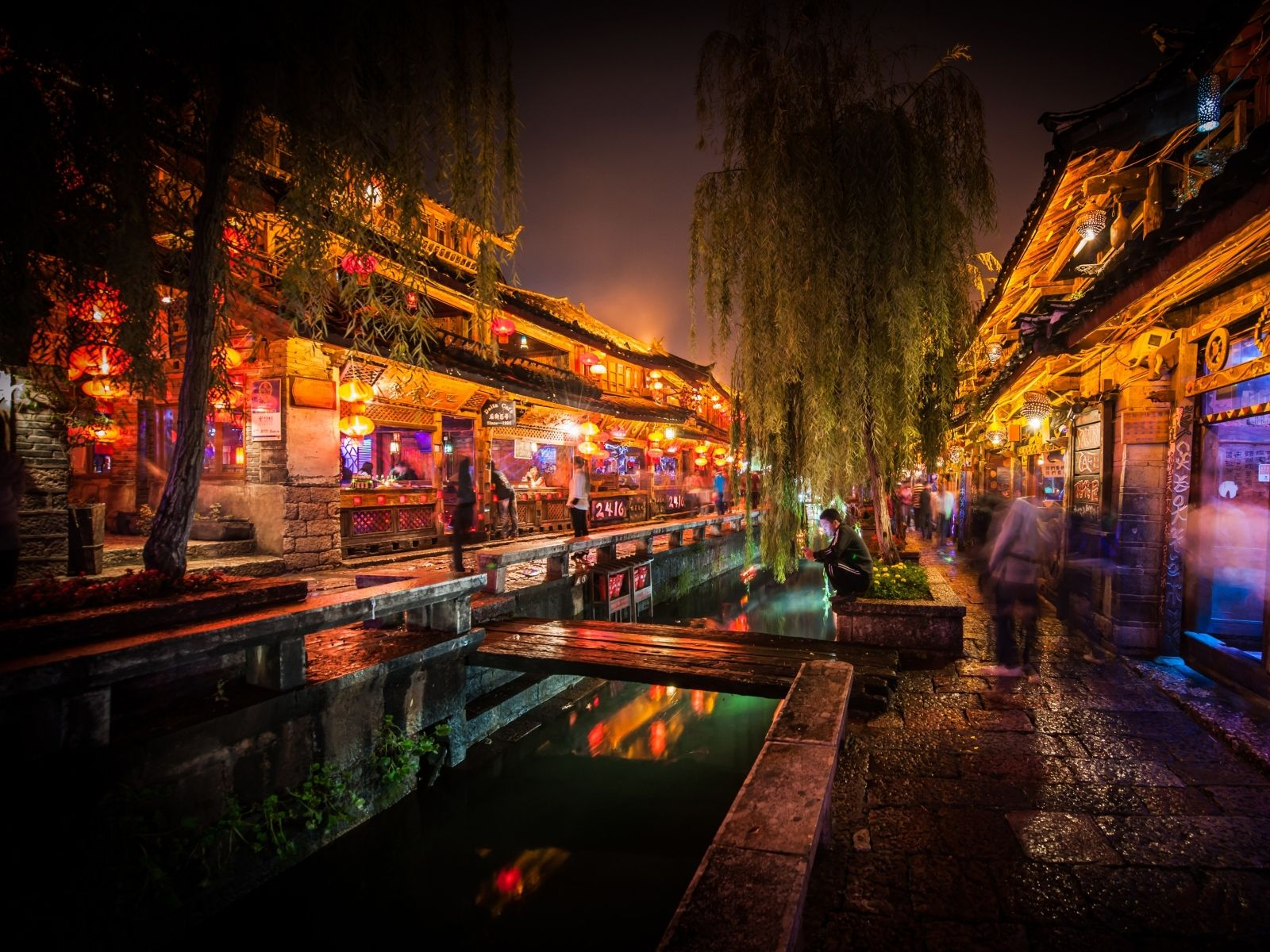 Light Trees Dark Night China Market City Lights Long Exposure Hdr Photography Canal Cities Night Sho Wallpaper Lijiang Hdr Photography City