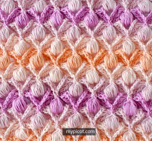 Crochet Textured Puff Stitch Tutorial - (mypicot) | Tutoriales ...