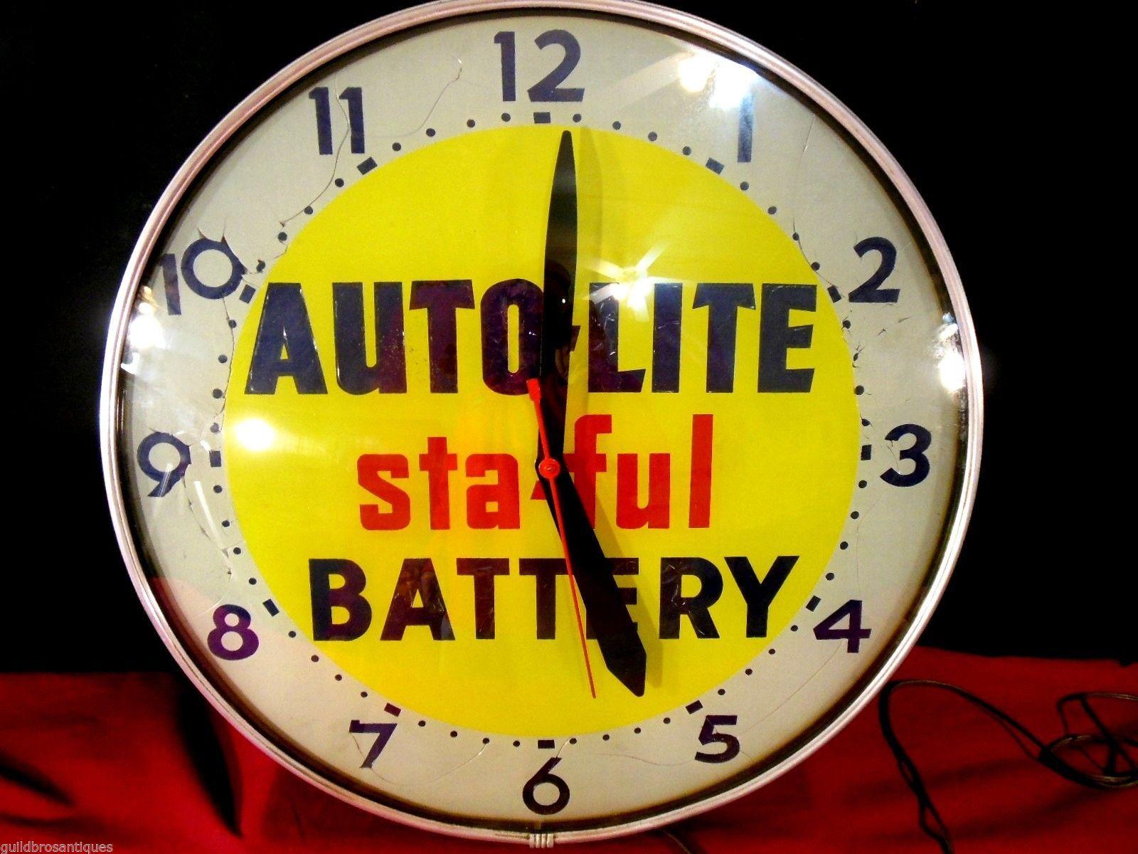 vintage auto lite battery clock antique 1940 sta ful automotive service station electric lighted advertising clock autolite  [ 1600 x 1200 Pixel ]