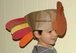 Thanksgiving activity turkey hats made out of brown paper bags