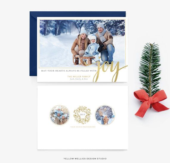 Holiday Card Template  Joy  Gold Calligraphy Christmas Photo
