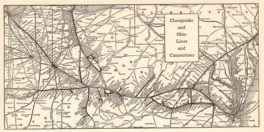 Details about 1911 Antique CHESAPEAKE and OHIO RAILROAD Map ... on mp map, erie map, gmo map, southern map, pc map, b&o map, dl&w map, conrail map, milw map, new york central map, penn central map, sou map, canadian national map, northern pacific map, central vermont map, new haven map, nickel plate map, prr map, csx map,