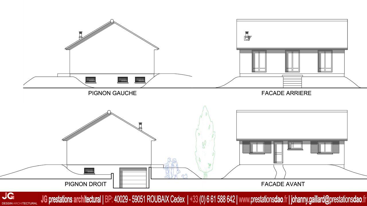 Jg dessin architectural fa ades de l 39 existant pour le for Extension maison 30m2 permis de construire
